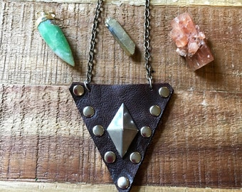 Leather Jewelry - Triangle Pouch Necklace - Soft Dark Brown Leather - Amulet Bag Necklace