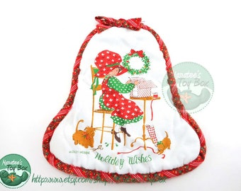 "Vintage Holly Hobbie Christmas Pot Holder ""Holiday Wishes 1980s"
