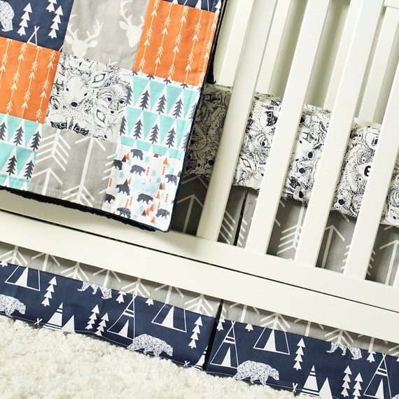 Bear Nursery Crib Bedding Orange Mint Navy Blue Gray Baby