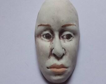 Porcelain Brooch Woman's Face