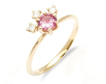 Pink sapphire and diamond engagement ring diamond and pink sapphire engagement ring purple sapphire ring cocktail engagement ring cluster