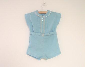 Vintage Baby Clothes, 1940's Aqua Blue Two Piece Baby Romper, Vintage Baby Romper, Blue Baby Romper, 1940s Baby Romper, Size 12 Months