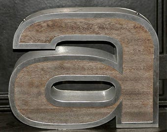 Vintage shop Letter, Pub Letter, lowercase a, metal and wood letter, British history, salvaged, 22cm high