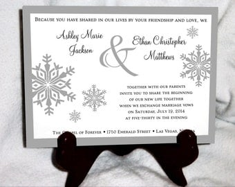 Snowflake Cyber Monday Sale Wedding Invitations Set.  Valued at over 600 dollars