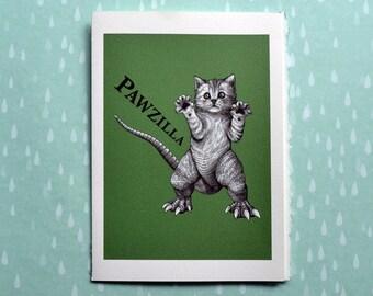 "Pawzilla Greeting Card, Kitten + Godzilla Hybrid Animal, 5x7"" Blank Card, Portland OR, Funny Cat Gift"