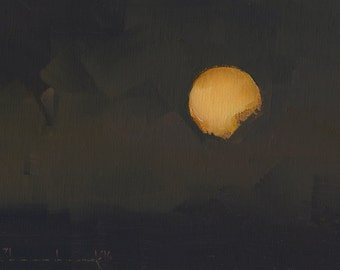 Original Oil Painting by John Shanabrook - 5 x 7 - New Year Moon