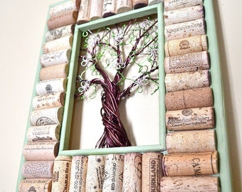 Wire Spring Tree Wine Cork board Message Board or Jewelry or Photo Holder