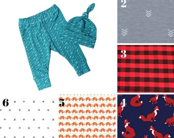 Baby leggings set - Baby leggings and top knot hat - Toddler leggings for boy - Baby leggings and hat - Choose your own fabric