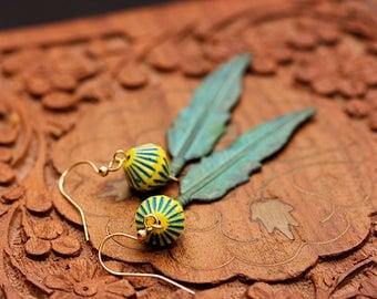 Bohemian Feather Earrings Turquoise Patina Feather Tribal Boho Earrings Native American Verdigris Feather Dangle Bohemian Jewelry - E337