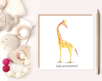 New Baby Birth Announcement - baby - baby birth card - birth announcement - new baby,- giraffe - ideal for new parents