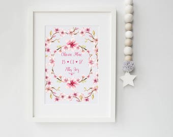 A4 Personalised Baby Girl Flower Wreath Art Print, art print, baby print, cherry blossom, ideal new baby gift, nursery print