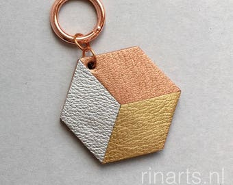 Geometric bag charm / keychain 3D Hexagon ( the CUBE ) made from rose gold, silver and gold leather. Gift under 20