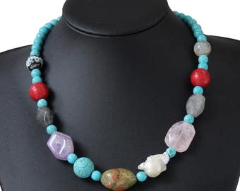 Turquoise, Amethyst, Agate, Onyx, Baroque Pearl Necklace Natural gem necklace Bridesmaid gift, Mother's Day gift