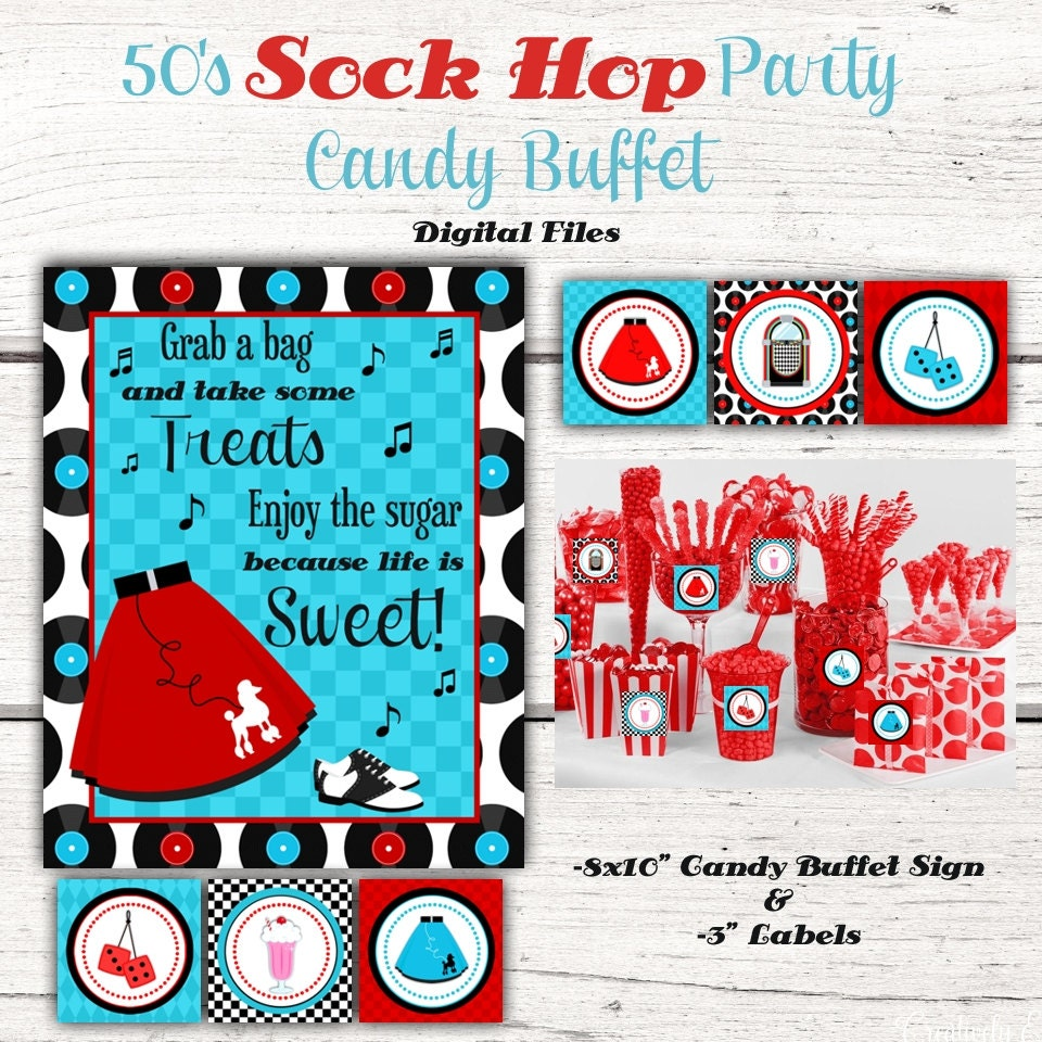 1950\'s Birthday Party Candy Buffet sign Candy Jar