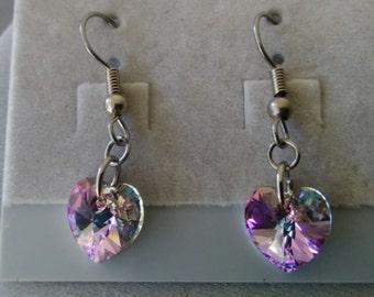 Swarovski Crystal Heart Drop Earrings