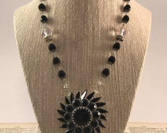 OOAK Black Burst Crystal Vintage Necklace