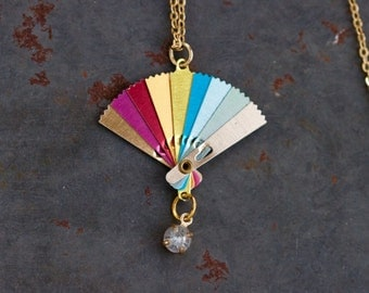 Colorful Fan Necklace - Miniature Art Deco pendant on Chain - Rainbow Colors