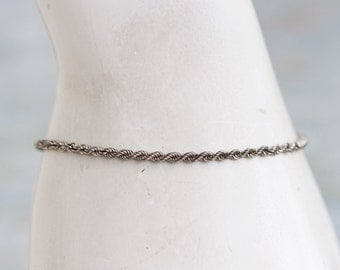 Thin Rope Bracelet - Elegant Sterling Silver Chain - Vintage Jewelry