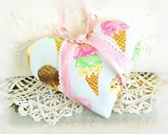 "Heart Ornament  Home Heart Pillow, 5"" Door Hanger Heart Ice Cream Cones Print, Handcrafted Handmade CharlotteStyle Handcrafted Folk Art"