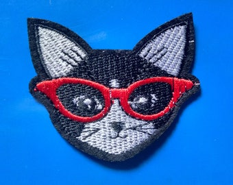Embroidered Hipster Kitty Patch