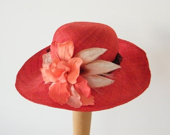 red long brim summer hat / elegant sun protection hat / wide brim ladies hat / black and red Audrey Hepburn hat made in Israel