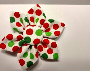 Red Flower, Green Flower, White Flower, Polka Dot Flower, Red Dot Flower, Green Dot Flower, Kitten, Cat or Dog Flower -Red Green Polka Dots