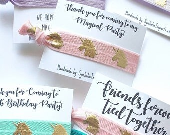 Unicorn Party - Unicorn Hair Tie Favors - Gold Unicorn - Girls Birthday Favor - Magical Unicorn Party - Unicorn Thank you Gift