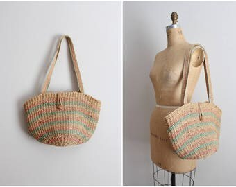 Vintage Woven Sisal Market Tote / Oversized Bag / Boho Bag