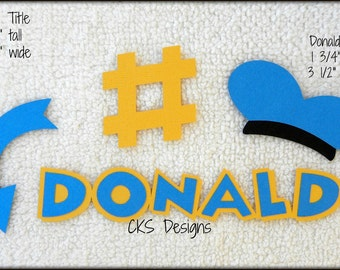 Die Cut Disney DONALD Title & Hat Premade Paper Piecing Embellishment for Card Making Scrapbook or Paper Crafts