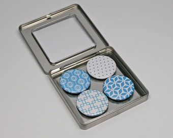 Turquoise Blue and White Geometric Magnet Set