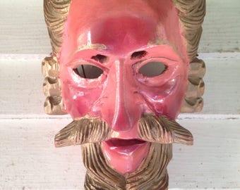 Antique Guatemalan Highland Mayan carved wood Pedro Alvarado conquistador mask