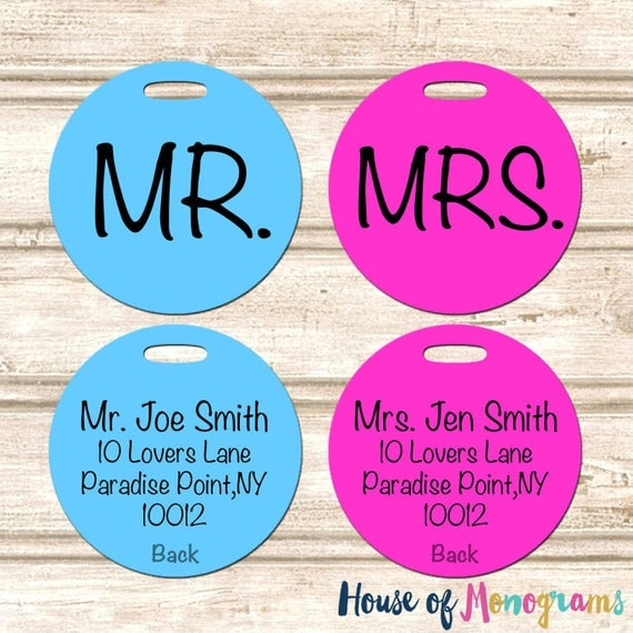 2 Personalized MR and MRS Wedding Luggage Tags Perfect for Honeymoon