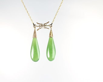 14k Jade Necklace, Teardrop Green Apple Jade, Solid yellow Gold Chinese symbol character