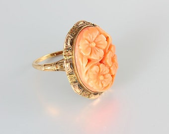 Carved Coral Ring,  10k Solid gold Art Deco Ring, size 6 Antique jewelry