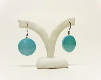 Teal Earrings, Fashion Earrings, Round Earrings, Teal Pearl Earrings, Dangle Earrings, Bright Earrings