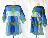 1960s Blue and Green Diamond Geometeric Terry Cloth Mini Dress by Herbcraft