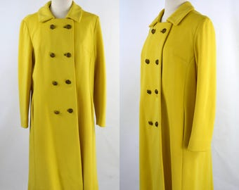 1960s/1970s Sunshine Yellow Double Breasted Overcoat, Light Weight Jacket