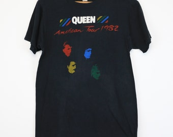 Queen Shirt Vintage tshirt 1983 Hot Space American Tour concert tee 1980s Freddie Mercury rock band Roger Taylor John Deacon Brian May 80s