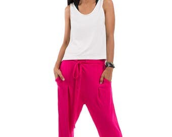 Pink pants, loose fit pants, hot pink trousers, yoga pants, pink harem pants : Urban Chic Collection no.15
