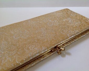 Vintage Gold Brocade Envelope Style Evening Clutch, Gold and Silver Brocade Purse, Envelope Style Purse
