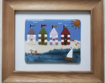 Fused Glass Wall Art Framed Picture -  Beach Huts by the Sea