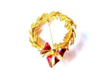 Brooch Gold Plate Holiday Wreath Red Bow