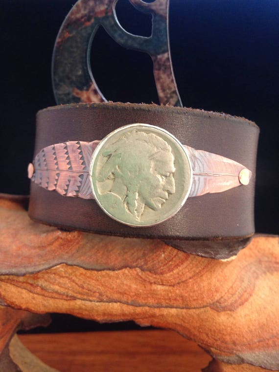 Handmade, Unlined, Southwestern, Brown Leather Cuff, Copper Feather, Indian Head Coin.