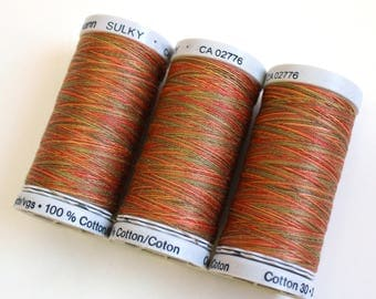 Variegated cotton thread, Gutermann variegated Sulky cotton, multicoloured sewing and embroidery thread, Shade 4010