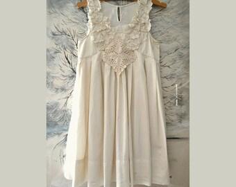 Women's sleeveless dress, summer dress, elegant ivory dress, party dress,rshabby dress, bridesmaid dress, recycled dress, size XS