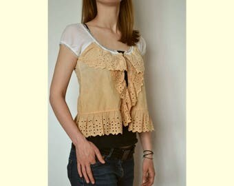 Summer cotton blouse, women's romantic top, boho blouse, holiday blouse sleeveless, artsy unique blouse, upcycled clothing, blouse size S