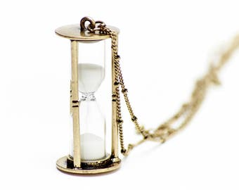 Hourglass Necklace Sanduhrkette Miniblings 5cm RUNNING WITH SAND pm Hourglass 80cm bronze