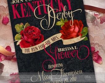 bridal shower invitations, Kentucky Derby bridal shower invitation, rose bridal shower invitation, Kentucky Derby wedding invitation, IN531