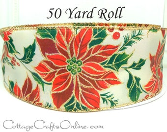 """CLEARANCE! Christmas Wired Ribbon, 2 1/2"""", Red Burgundy Poinsettia - FIFTY YARD Roll - """"Gilded Poinsettia"""" Gold Metallic, Wire Edged Ribbon"""