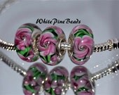 Pink and Green Floral Handmade Lampwork Murano Glass Beads for European Charm Bracelet